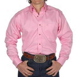 Ariat Solid Twill Button Down Long Sleeve Pink Shirt 10016692