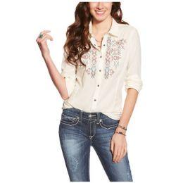 10017729 Ivory Hatch Snap Ariat Long Sleeve Womens Shirt