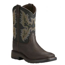 Ariat Bruin Brown WorkHog Childrens Western Boots 10021452