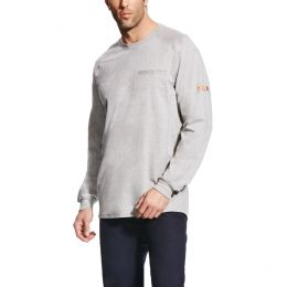 Ariat Silver Fox Heather FR Air Crew T-Shirt 10022329