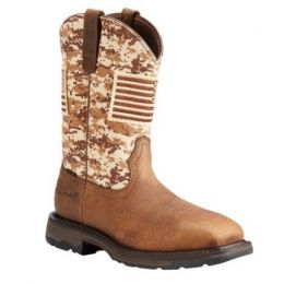 Ariat Men's WorkHog Patriot Camo Safety Toe Wellington Work Boots 10022968