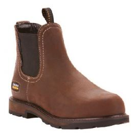 Ariat Dark Brown Men's Groundbreaker Chelsea Waterproof Steel Toe Work Boot 10024983