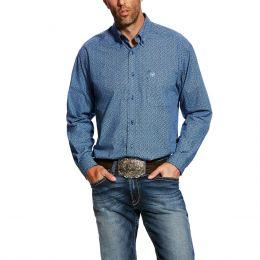 Ariat True Navy Dullins Long Sleeve Mens Print Western Shirt 10025531