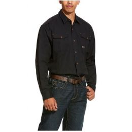 Ariat Black Rebar Made Tough Durastretch Classic Long Sleeve Work Shirt 10027826