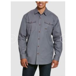 Ariat Steel Grey Rebar Made Tough Durastretch Classic Long Sleeve Mens Work Shirt 10027830