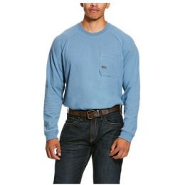 Ariat Steel Blue Men's Rebar Cotton Strong Long Sleeve T-Shirt 10027843