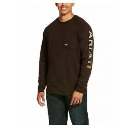 Ariat Ganache Brown Rebar Cottonstrong Graphic Long Sleeve T-Shirt 10027902