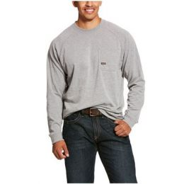 Ariat Heather Gray Men's Rebar Cotton Strong Long Sleeve T-Shirt 10027905
