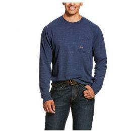 Ariat Navy Heather Men's Rebar Cotton Strong Long Sleeve T-Shirt 10027906