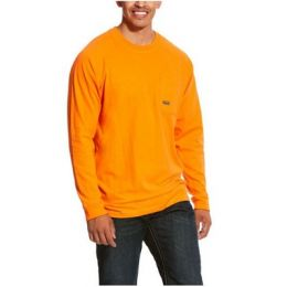 Ariat Safety Orange Men's Rebar Cotton Strong Long Sleeve T-Shirt 10027907