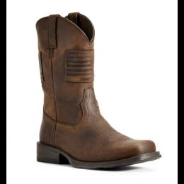 Ariat Brown Rambler Patriot Diestressed Brown Flag Men's Boots 10029692
