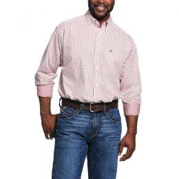 Ariat Percinnamon Red Wrinkle Free Washington Print Classic Mens Fit Shirt 10031948