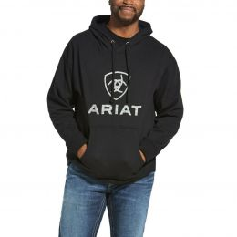Ariat Black Rough Grain Logo Hoodie Sweatshirt 10033134