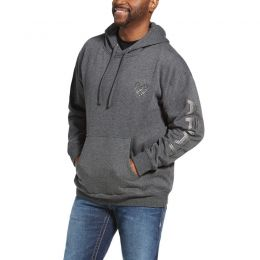 Ariat Heather Grey Stencil Logo Hoodie Sweatshirt 10033147