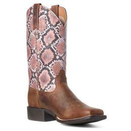 Ariat Tan Pink Round Up Snake Print Ladies Boots 10035995