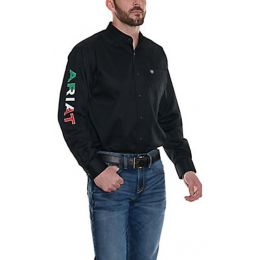 Ariat Black Twill Long Sleeve Mens Shirt with Mexican Flag Logo 10038500