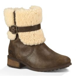 UGG Blayre II Lodge Side Zip Short Womens Boots with Fur On Outside