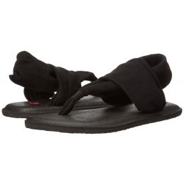 Sanuk Yoga Sling Burst  Black Canvas Kids Sandal 1011417Y-BLK