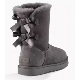 UGG Bailey Bow II Grey Classic Womens Short Boots With Bows On Back 1016225