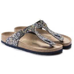 Birkenstock Watercolor Flower Navy Gizeh Vegan Womens Casual Thong Sandals 1018448