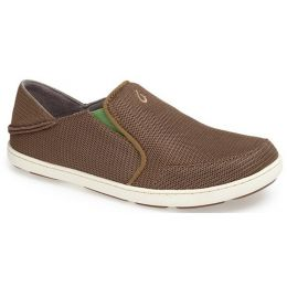 Olukai Nohea Mesh Slip On Grey/Lime Mesh Mens Casual 10188-13AP