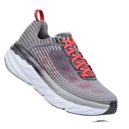 Hoka Alloy/Steel Gray Bondi 6 Cushioned Mens Wide Athletic Running Shoes 1019269