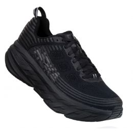 Hoka One Black/Black Bondi 6 Womens Cushioned Running Shoes 1019270