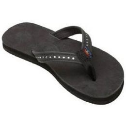 101CLTSN-BK Black Premier Leather Crystal Rainbow Kids Sandals