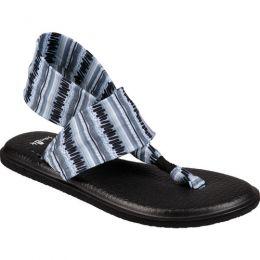 Sanuk Yoga Sling Black White Island Stripe Knit Comfort Womens Sandals 1091530-BWIS