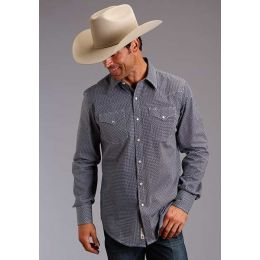 Karman Roper Micro Chip Print Mens Western Long Sleeve Snap Shirt 1100104250639BU