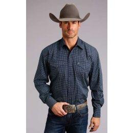 Stetson Blue Circle Geo Print Mens Long Sleeve Western Snap Shirt 1100104250645BU