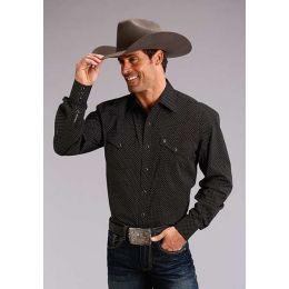 Stetson Mens Long Sleeve Sleeve Snap Black Print Shirt