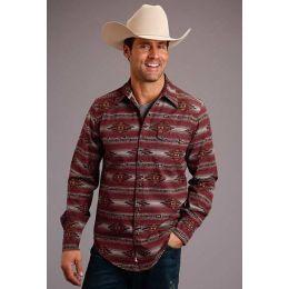 Stetson Brown Original Rugged Aztec Serape Print Mens Long Sleeve Western Snap Shirt 1100104257010BR