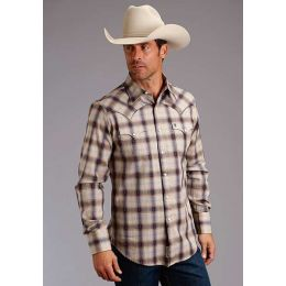 Karman Roper Rustic Dobby Plaid Mens Long Sleeve Snap Western Shirt 1100104780796BR