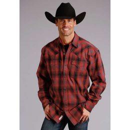 Seteson Red/black Brushed Twill Mens Long Sleeve Plaid Snap Shirt 11-001-0478-7091RE