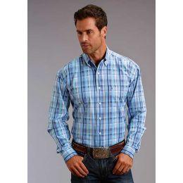 Karman Roper Blue Satin Plaid Stetson Mens Long Sleeve Western Shirt 1100105790461BU