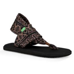 Sanuk Skyland Brown/Black Yoga Sling 2 Prints Womens Comfort Sandals 1100698