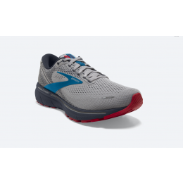 Brooks Grey with Blue and Red Ghost 14 Men's Running Shoes 110369-078