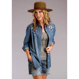 Stetson Ladies Embroidered Denim Shirt 11-050-0594-0249 BU