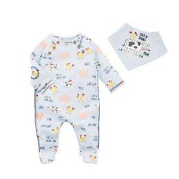 Mud Pie Blue Infant Boy Cow Sleeper Bib Set 11060170