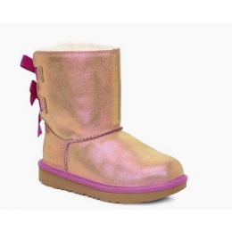 Ugg Chestnut/Fuchsia Bailey Bow II Shimmer Kids Boots