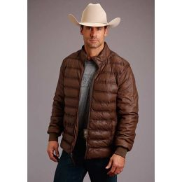 Stetson Men's Leather Zip Front Quilted Jacket