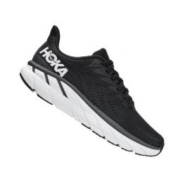 HOKA Women's Black/White Clifton 7 Comfort Running Shoe 1110509/35-BWHT