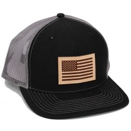 Richardson Black/Charcoal Mesh Back Trucker Ball Cap with Leather Patch 112-BCH-USA