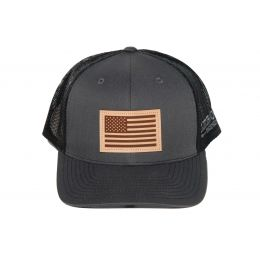 Richardson Charcoal with Black American Flag Leather Patch OSFM Ballcap 112-CHB-USA
