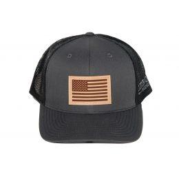 Richardson Charcoal with Black American Flag Leather Patch OSFM Ballcap 112-CHB-USA
