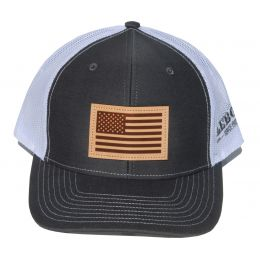 Richardson Charcoal with White American Flag Leather Patch OSFM Ballcap 112-CHW-USA