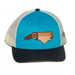 Richardson Teal with White Mesh Back Trucker Ball Cap with Leather NC State Outiline 115-BLTNBI-NCHP
