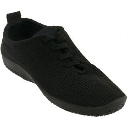1151-LS-01 Black Stretch Knit Lace-Up Comfort Arcopedico Womens Shoes