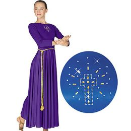 11524 Liturgical Polyester Dress With Cross Applique - Adult Sizes